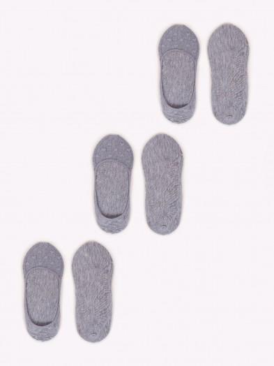 Skarpety damskie stopki z siateczką 3PAK szare