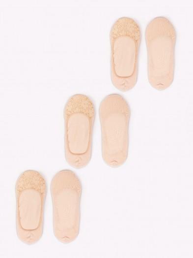 Skarpety stopki damskie niskie z koronką 3PAK beżowe