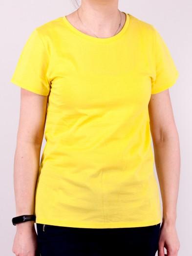 Podkoszulka t-shirt bawełniany damski żółty gładki