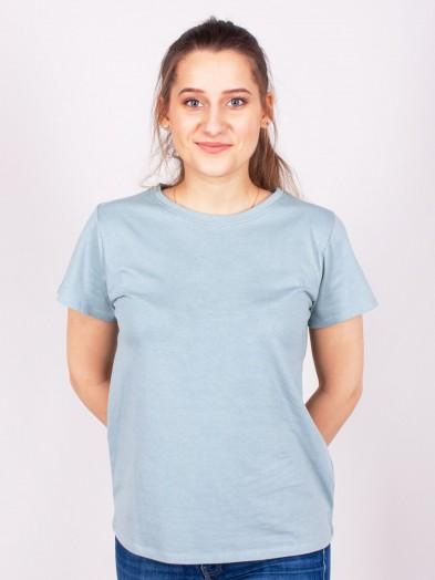 Podkoszulka t-shirt bawełniany damski niebieski gładki