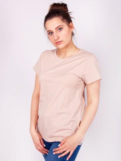 Podkoszulka t-shirt bawełniany damski beż melanż gładki