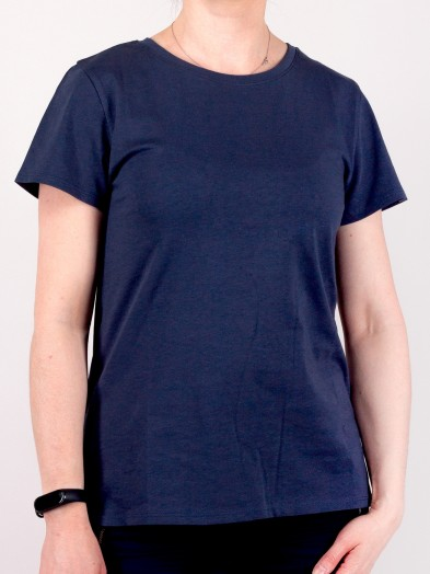 Podkoszulka t-shirt bawełniany damski granat gładki