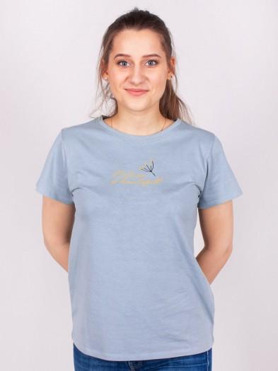 Podkoszulka t-shirt bawełniany damski niebieski nature