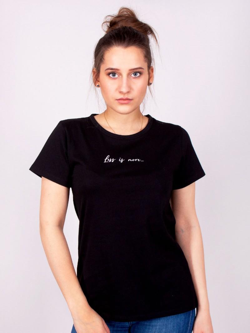 Podkoszulka t-shirt bawełniany damski czarny less is more