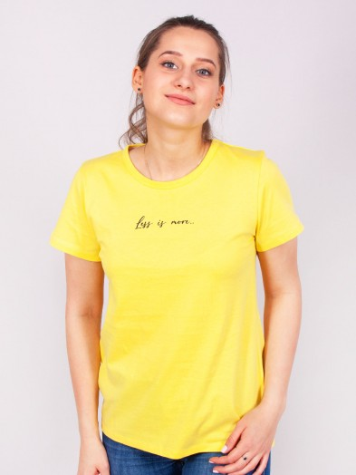Podkoszulka t-shirt bawełniany damski żółty less is more