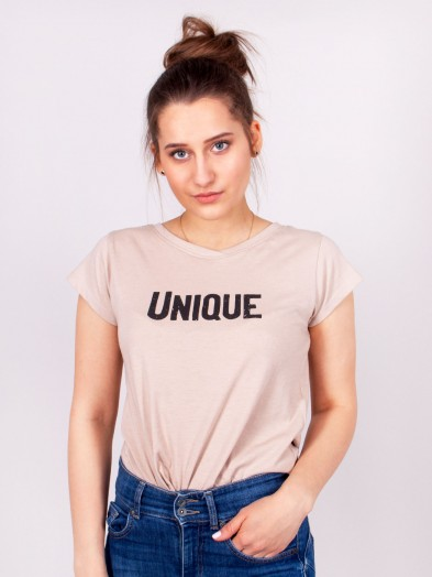 Podkoszulka t-shirt bawełniany damski beż melanż unique