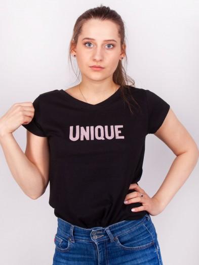 Podkoszulka t-shirt bawełniany damski czarny unique