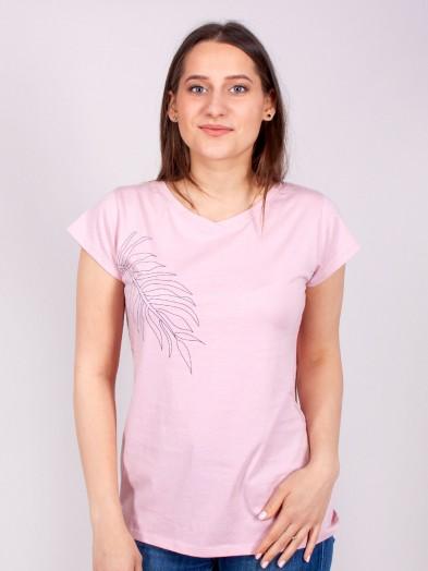 Podkoszulka t-shirt bawełniany damski róż liść