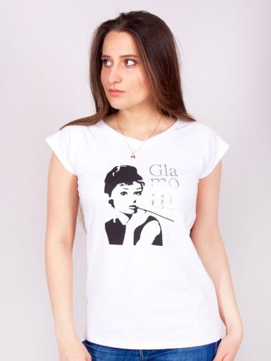 Podkoszulka t-shirt bawełniany damski biały glamour