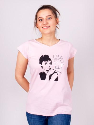 Podkoszulka t-shirt bawełniany damski róż glamour