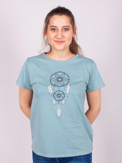 Podkoszulka t-shirt bawełniany damski zielona łapacz snów