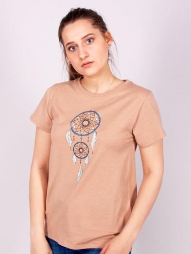 Podkoszulka t-shirt bawełniany damski beż melanż łapacz snów