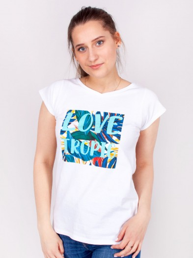 Podkoszulka t-shirt bawełniany damski biały tropic
