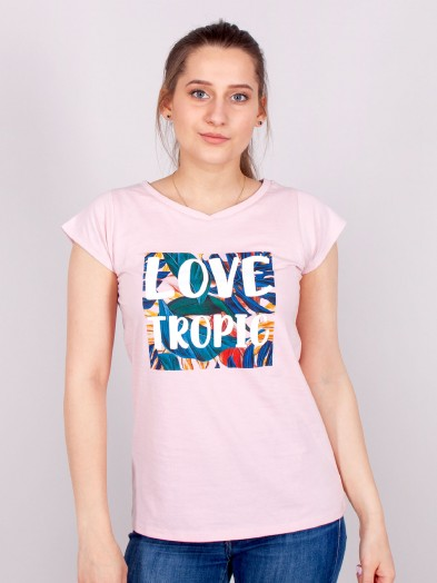 Podkoszulka t-shirt bawełniany damski róż tropic