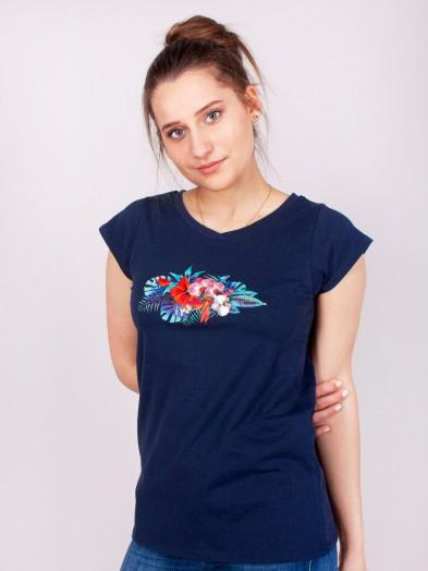 Podkoszulka t-shirt bawełniany damski granat bukiet