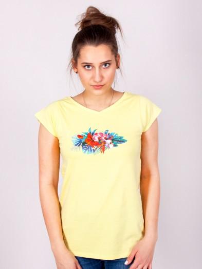 Podkoszulka t-shirt bawełniany damski żółty bukiet