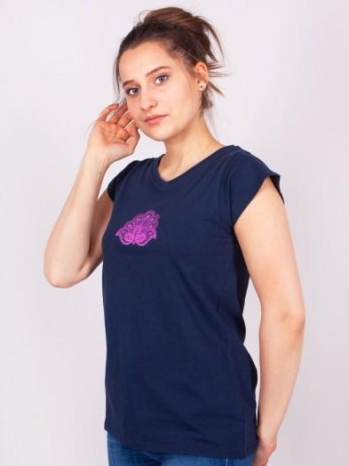 Podkoszulka t-shirt bawełniany damski granat paisley