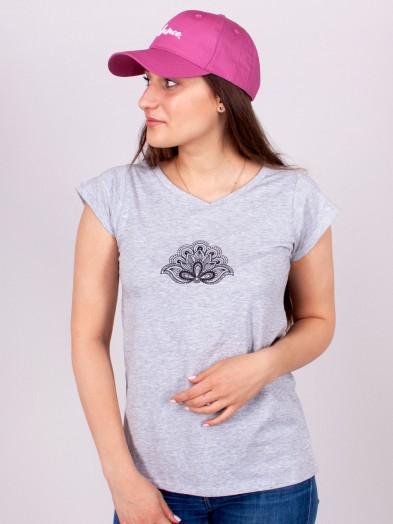 Podkoszulka t-shirt bawełniany damski szary melanż paisley