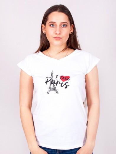 Podkoszulka t-shirt bawełniany damski biały paris