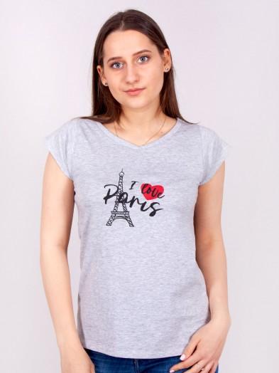 Podkoszulka t-shirt bawełniany damski szary mel paris