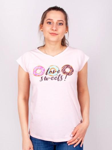 Podkoszulka t-shirt bawełniany damski jasny róż sweets