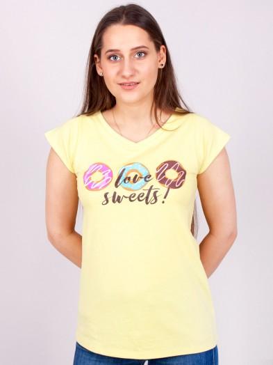 Podkoszulka t-shirt bawełniany damski żółty sweets