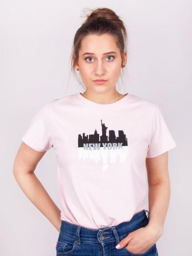 Podkoszulka t-shirt bawełniany damski jasny róż new york
