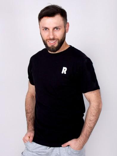Podkoszulka t-shirt bawełniany męski czarny relax