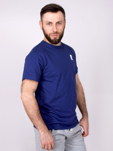 Podkoszulka t-shirt bawełniany męski granat relax
