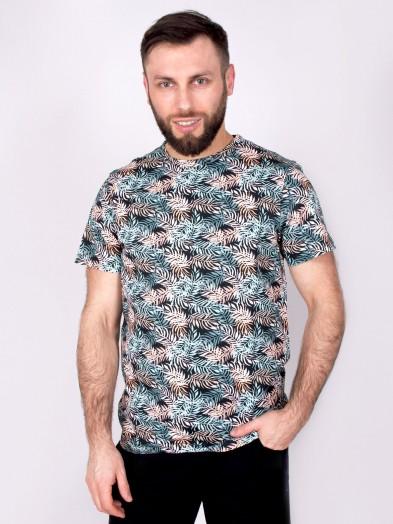 Podkoszulka t-shirt bawełniany męski czarny liście
