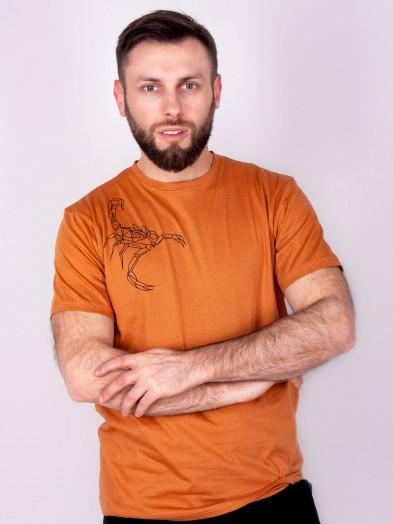 Podkoszulka t-shirt bawełniany męski brąz scorpion