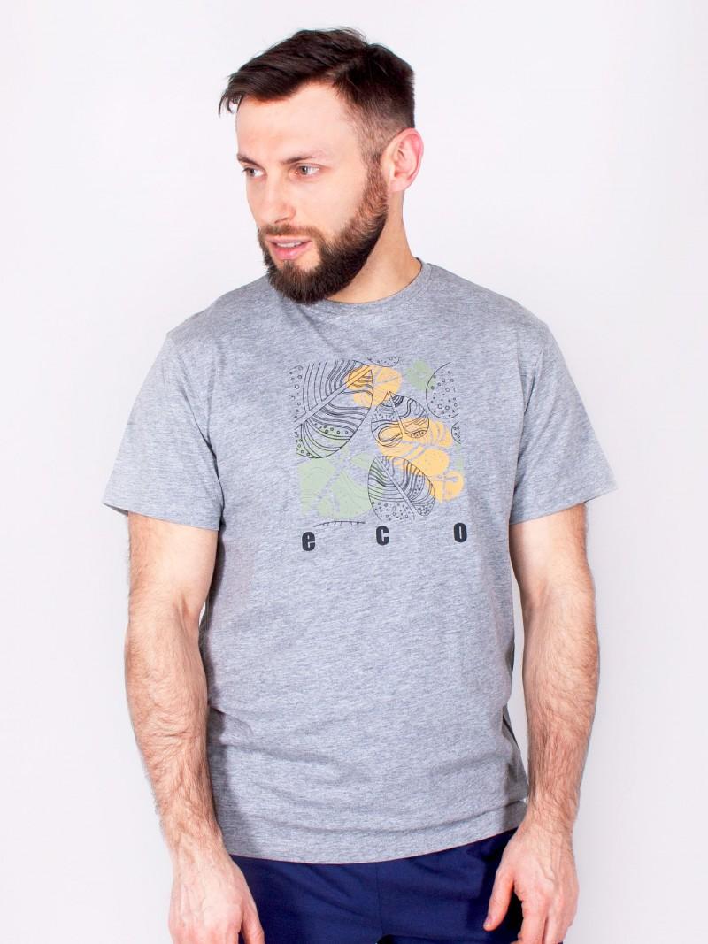 Podkoszulka t-shirt bawełniany męski szary melanż eco