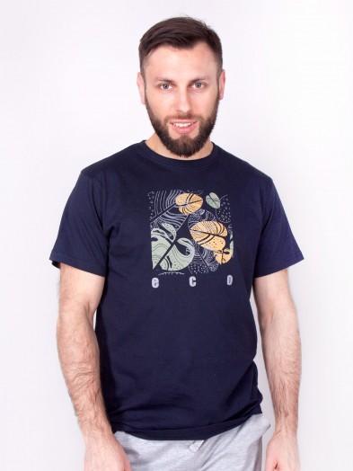Podkoszulka t-shirt bawełniany męski granat eco