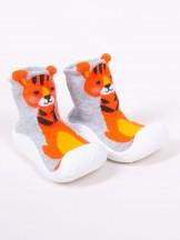 Skarpety z gumową podeszwą do nauki chodzenia z elementem 3D tygrys chłopięce