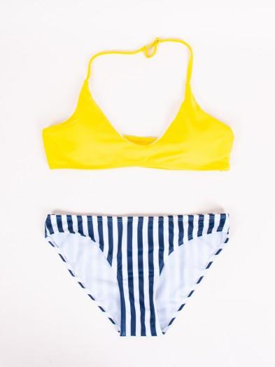 Kostium plażowy damski dwuczęściowy w granatowe paski