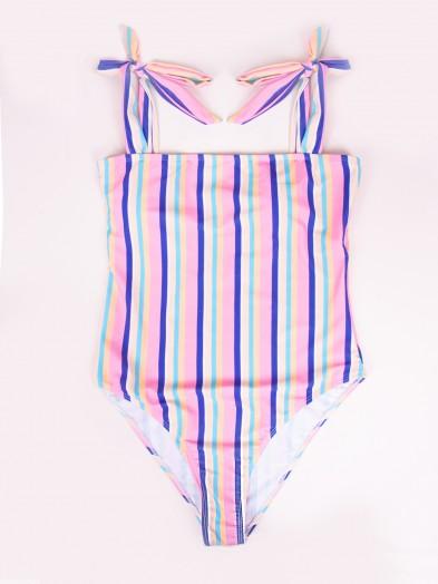 Kostium plażowy damski jednoczęściowy pastelowy w paski