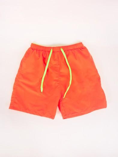 Szorty plażowe chłopięce neonowe pomarańczowe