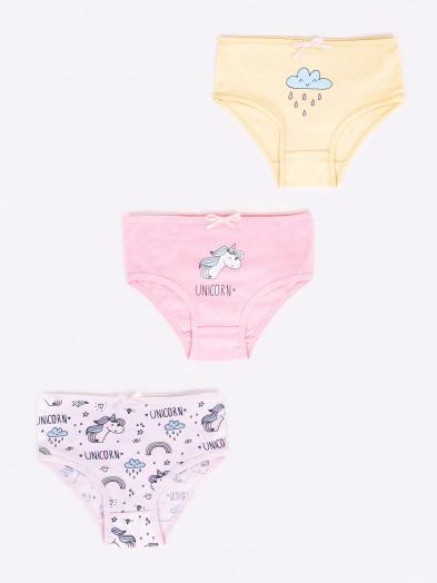 Figi majtki bawełniane dziewczęce unicorn 3PAK