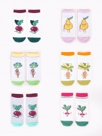 Skarpety stopki dziewczęce 6PAK w kolorowe warzywa i owoce