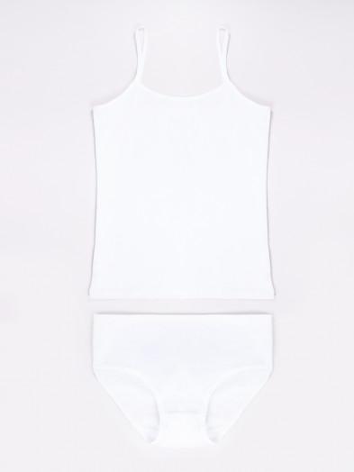 Komplet bielizny dziewczęcej bawełniany biały