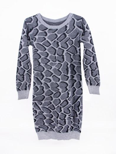 Tunika sweter damski długi szary