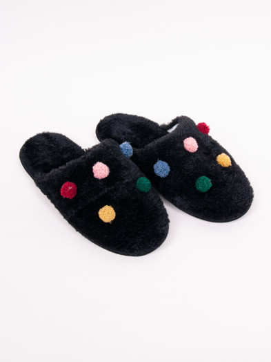 Kapcie damskie czarne z kolorowymi pomponami