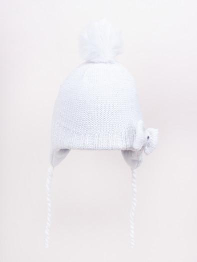 Czapka zimowa dziecięca z kokardką wiązana biała