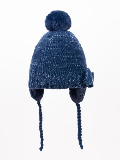 Czapka zimowa dziecięca z kokardką wiązana granatowa