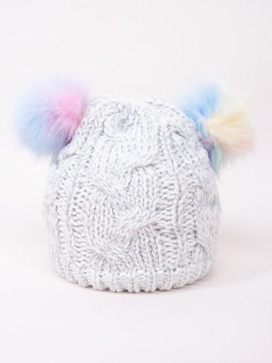 Czapka zimowa dziecięca z kolorowymi pomponami