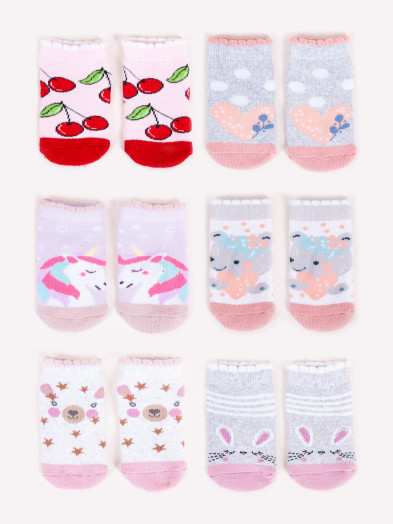 Skarpety niemowlęce frotte kolorowe 6PAK