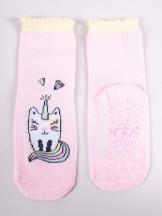 Skarpety dziewczęce bawełniane z kotkiem i ABS 3PAK