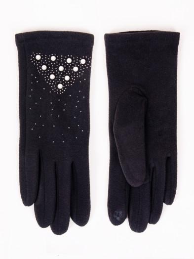 Rękawiczki damskie czarne z perełkami dotykowe