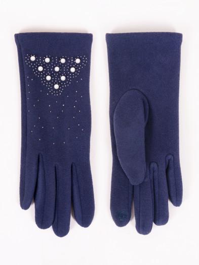 Rękawiczki damskie granatowe z perełkami dotykowe