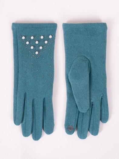 Rękawiczki damskie morskie z perełkami dotykowe